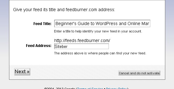 Feed Title and Feed Address