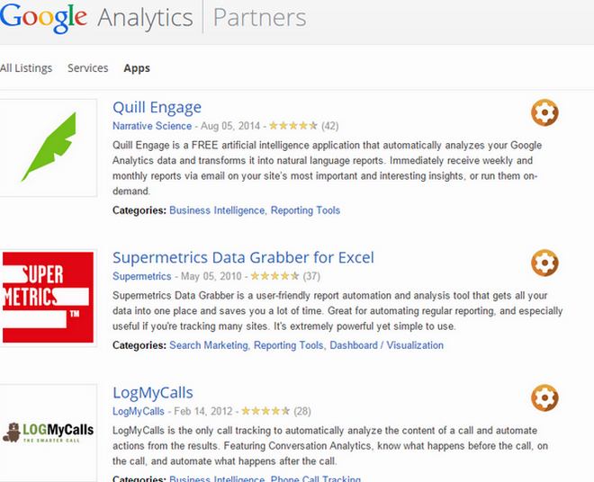 Google analytics appliation gallery